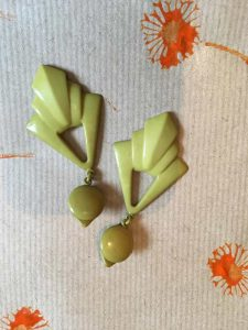 Plastic green clip on earrings 1930s
