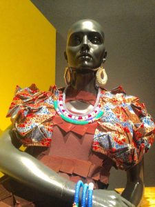 Dress by Black Coffee, accessories designed by Henrietta Bolino and made by Ndebele artisans. Outfit curated by Maria Mccloy, journalist, Johannesburg, South Africa.